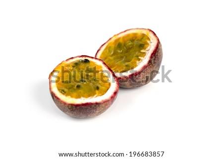 Passionfruit on white background - stock photo