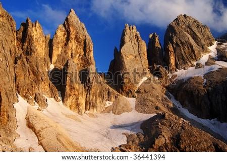passo delle farangole - pale di san martino - dolomiti - italy - stock photo