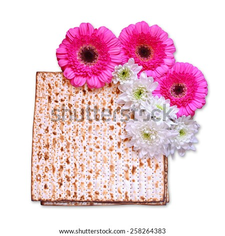 passover background. matzoh (jewish passover bread) and flowers isolated on white - stock photo