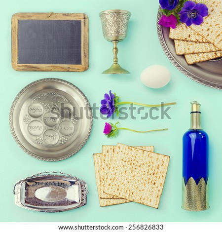 Passover objects  and food set for creative design - stock photo