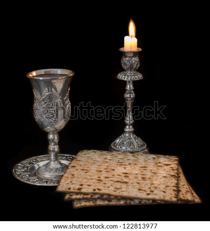 Passover on Black Background - stock photo