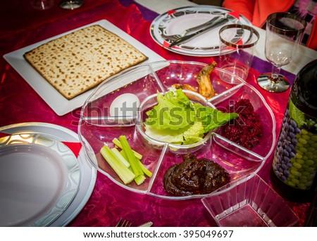 Passover seder plate, jewish holiday - stock photo