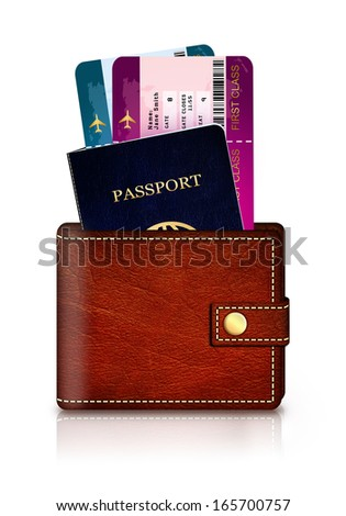 passport and fly tickets in wallet isolated over white background - stock photo