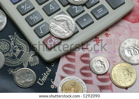 passport, coins, bills and calculator - stock photo