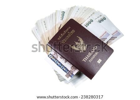 Passport, money  on white background. - stock photo