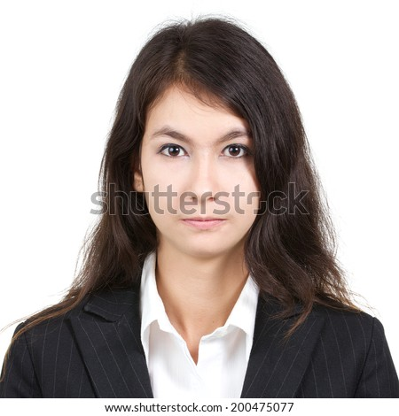 passport photo of young attractive sexy beautiful woman in white shirt and suit isolated on a white background, square ratio - stock photo