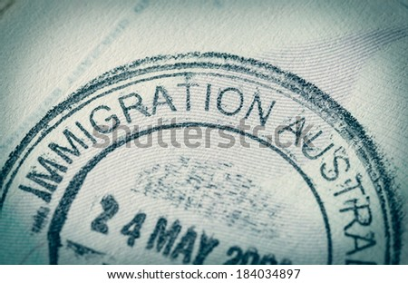 Passport stamp for travel concept background - stock photo