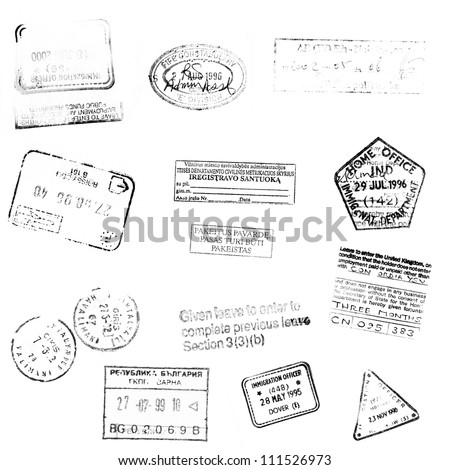 passport stamps background for your design - stock photo