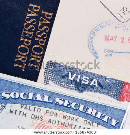Passport, US Visa and Social Security Card - stock photo