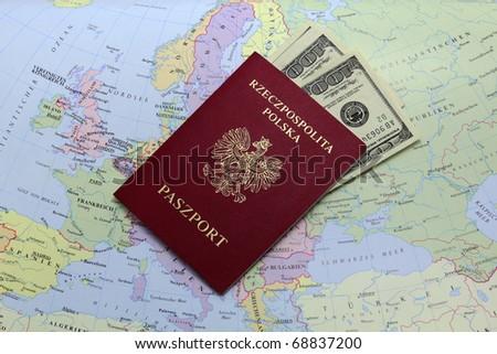 passport with money - stock photo