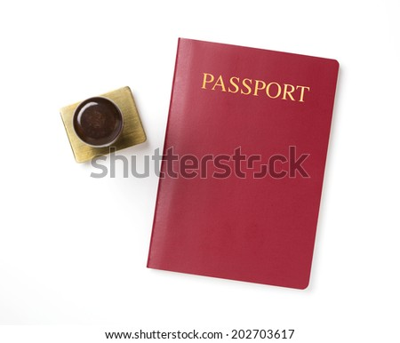 Passport with rubber stamp isolated on a white background - stock photo