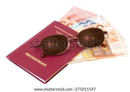 Passport with sunglasses and money isolated on white background - stock photo