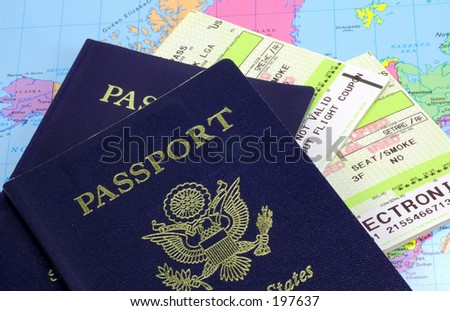 Passports and Airline Tickets - stock photo