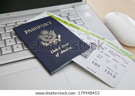 Passports and Boarding Pass - stock photo