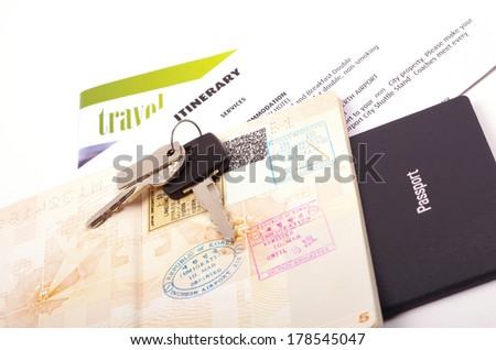 passports and holiday travel documents   - stock photo