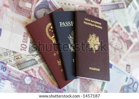 Passports and Money - stock photo