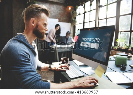 Password Access Firewall Internet Log-in Private Concept - stock photo
