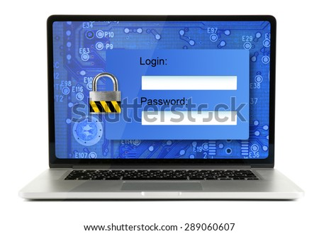 Password on a laptop screen - computer security concept - stock photo