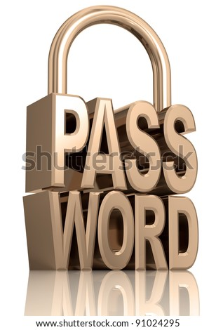 Password padlock isolated on white background, security allegory illustration, 3d. - stock photo