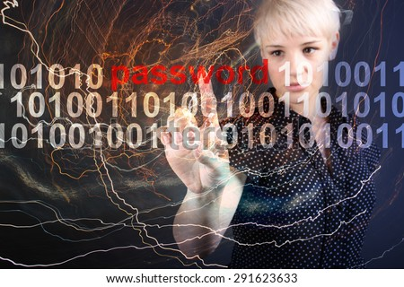 Password protection - technolody security concept - stock photo