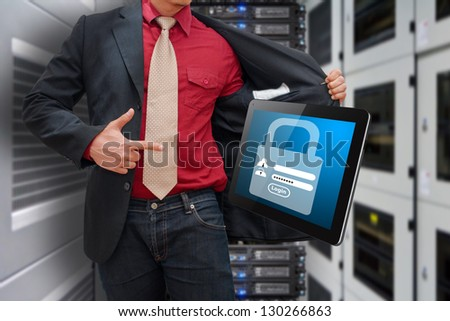 Password security for safety in data center room - stock photo