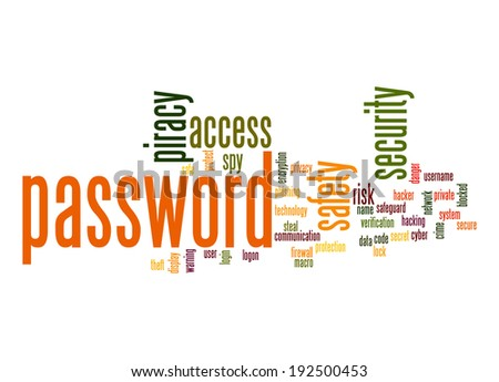 Password word cloud - stock photo