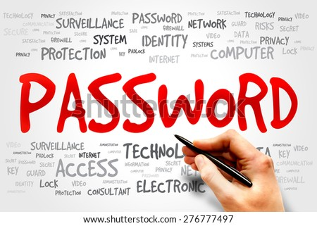 PASSWORD word cloud, business concept - stock photo