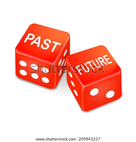 past and future words on two red dice over white background - stock photo