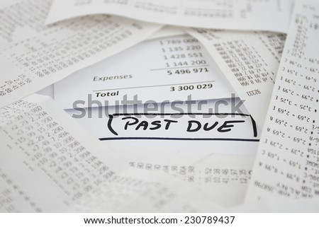 Past due bills to be paid - stock photo