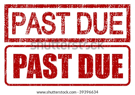 Past due stamps with grunge style isolated over white - stock photo