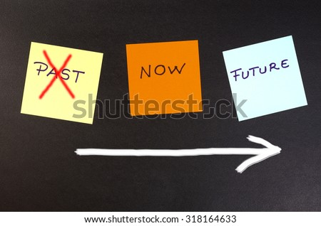 Past, present, future - concept. Forget the past and move on - stock photo