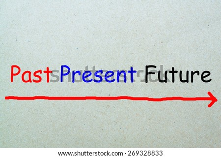 Past present future concept written with paper - stock photo