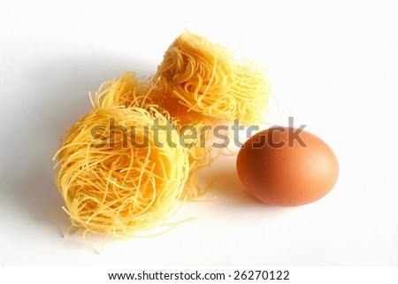 pasta and egg - stock photo