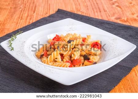 pasta and eggplant  - stock photo