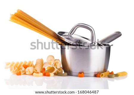 pasta and steel pot isolated on white background  - stock photo