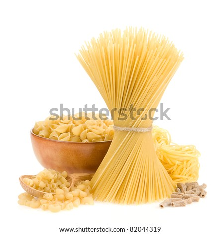 pasta and wooden plate isolated on white background - stock photo