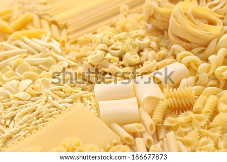 pasta assortment, italian food image - stock photo