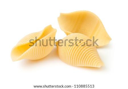 pasta closeup on white background - stock photo