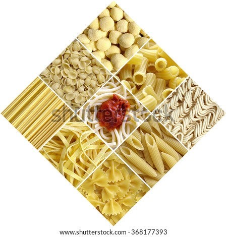 Pasta collage including 9 pictures of food - stock photo