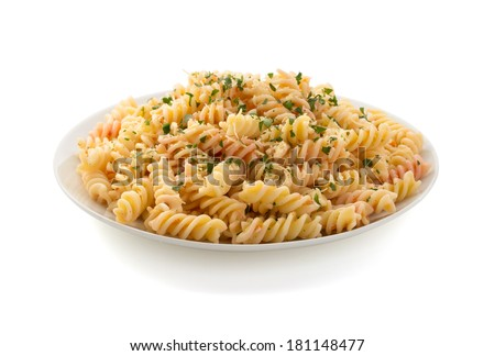 pasta fusilli in plate isolated on white background - stock photo