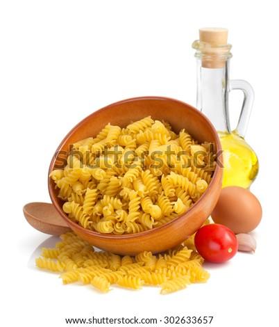 pasta fusilli isolated on white background - stock photo