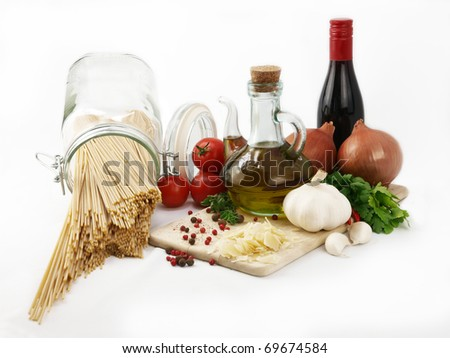 Pasta isolated and ingredients for cooking - stock photo