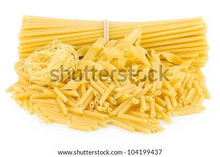 Pasta. Isolated on white background - stock photo