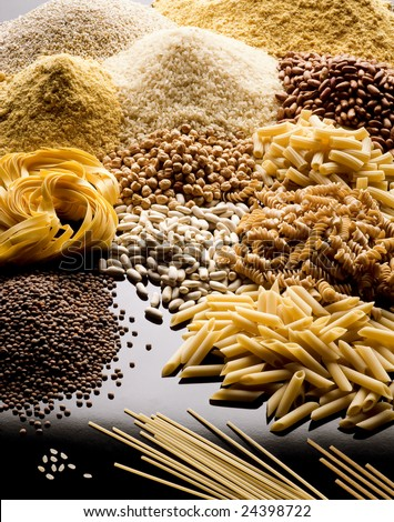 pasta rice cereals and legumes - stock photo