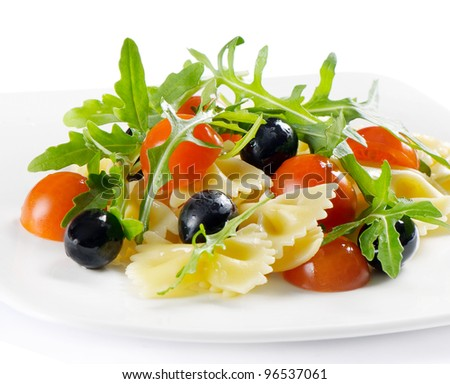 Pasta salad isolated on white - stock photo
