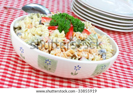 Pasta salad with twirled macaroni, tomatoes and olives.  Checked picnic tablecloth and additional serving plates. - stock photo