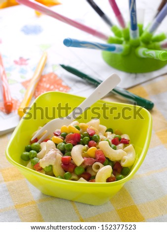 Pasta salad with vegetables, selective focus. Shot for a story on homemade  healthy baby foods.  - stock photo