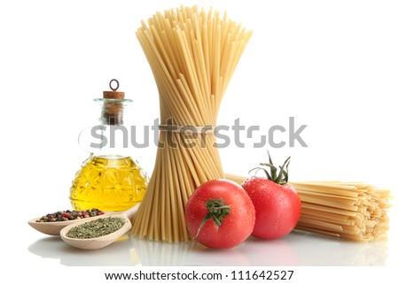 Pasta spaghetti, tomatoes and oil, isolated on white - stock photo