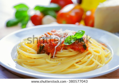 pasta with bolognese sauce close up - stock photo