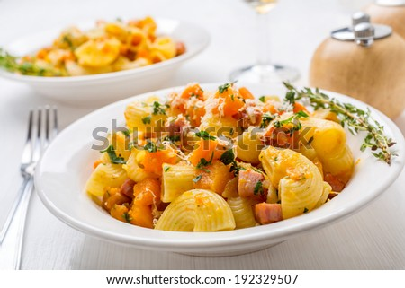 Pasta With Butternut Squash and Pancetta - stock photo